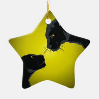 Black panthers ceramic ornament