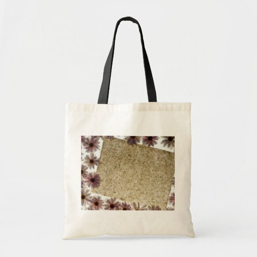 Black Paper and daisies flowers Canvas Bags