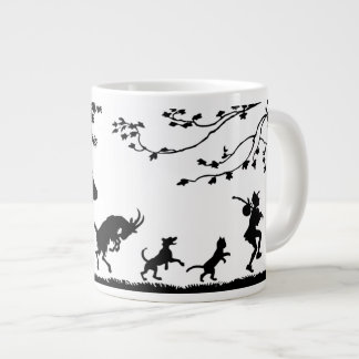 Black Paper Cut-out Animals Follow the Leader Giant Coffee Mug