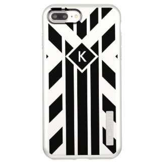 Black Parallelograms, Stripes on Silver, Monogram Incipio DualPro Shine iPhone 7 Plus Case
