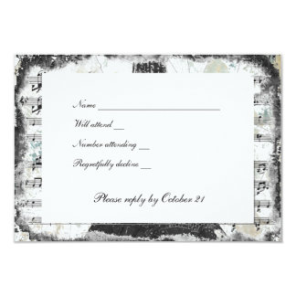 Black Paris Eiffel Tower Music rsvp with envelopes 3.5x5 Paper Invitation Card