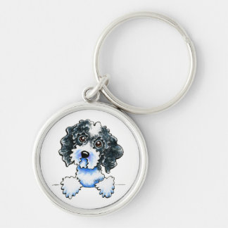 Black Parti Cockapoo Lined Up Silver-Colored Round Keychain