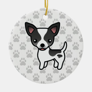 Black Parti Color Smooth Coat Chihuahua Dog Ceramic Ornament