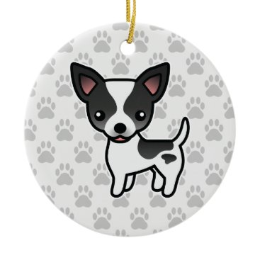 destei Black Parti Color Smooth Coat Chihuahua Dog Ceramic Ornament