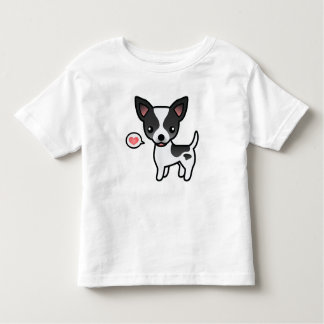 Black Parti Color Smooth Coat Chihuahua & Heart Toddler T-shirt
