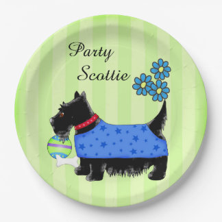 Black Party Scottie Dog Blue Clothes Green Custom Paper Plate