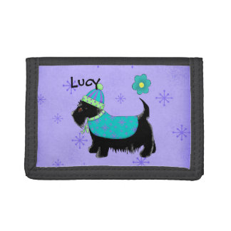 Black Party Scottie Terrier Dog Name Personalized Trifold Wallet