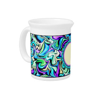 Black & Pastel Abstract Stained Glass Pattern Pitchers