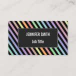 [ Thumbnail: Black & Pastel Color Lines Pattern Business Card ]