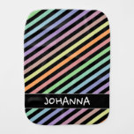 [ Thumbnail: Black & Pastel Color Lines Pattern + Custom Name Baby Burp Cloth ]