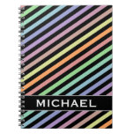 [ Thumbnail: Black & Pastel Color Lines Pattern + Custom Name Notebook ]