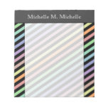 [ Thumbnail: Black & Pastel Color Lines Pattern + Custom Name Notepad ]