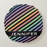 [ Thumbnail: Black & Pastel Color Lines Pattern + Custom Name Round Pillow ]