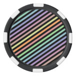 [ Thumbnail: Black & Pastel Color Lines Pattern Poker Chips Set ]