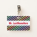 [ Thumbnail: Black & Pastel Color Lines Pattern + Teacher Name Badge ]