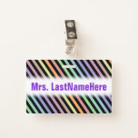 [ Thumbnail: Black & Pastel Color Lines Pattern + Teacher Name Badge ]