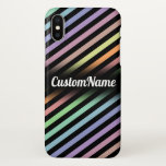 [ Thumbnail: Black & Pastel Color Lines Pattern W/ Custom Name Case ]