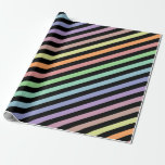 [ Thumbnail: Black & Pastel Colored Lines Pattern Wrapping Paper ]