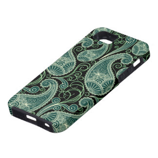 Black & Pastel Green Retro Orante Paisley Pattern iPhone 5 Cases