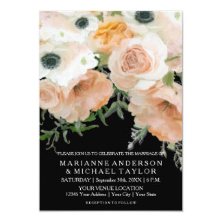 Black Pastel Petals English Floral Roses Wedding Card