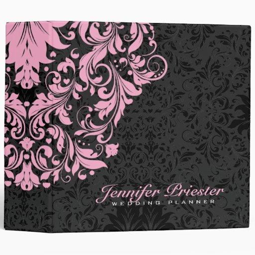 Black & Pastel Pink Floral Vintage Damasks 3 3 Ring Binders