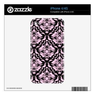 Black & Pastel Pink Vintage Floral Damask Pattern Decal For iPhone 4