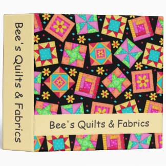 Black Patchwork Quilt Art Custom Business Album 3 Ring Binder