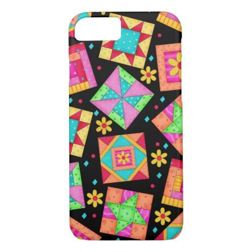 Black Patchwork Quilt Art iPhone 7 case Phone Case