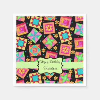 Black Patchwork Quilt Block Name Happy Birthday Napkin