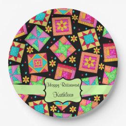 Black Patchwork Quilt Block Name Happy Retirement Paper Plate  sc 1 st  Zazzle & Trendy Quilter Craft Hobby Paper Plates   Zazzle
