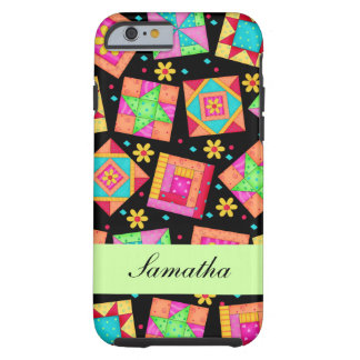 Black Patchwork Quilt Block Name Personalized Tough iPhone 6 Case