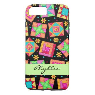 Black Patchwork Quilt Block Name Personalized iPhone 7 Plus Case