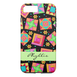 Black Patchwork Quilt Block Name Personalized iPhone 8 Plus/7 Plus Case