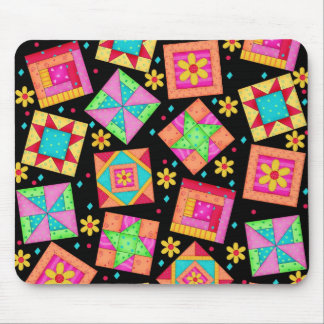Black Patchwork Quilt Blocks Mousepad