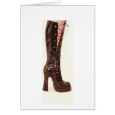Black Patent Lace-up Boot Cards