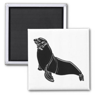 Black Patent Leather Seal Magnet