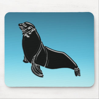 Black Patent Leather Seal Mouse Pad