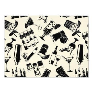 Black Pattern Cocktail Bar Card