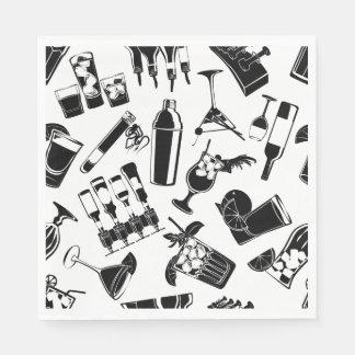 Black Pattern Cocktail Bar Paper Napkin