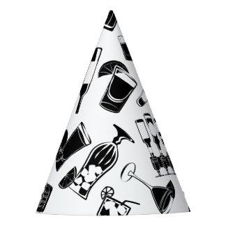 Black Pattern Cocktail Bar Party Hat