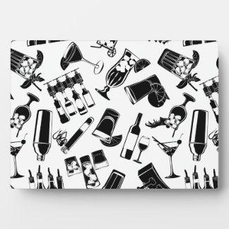 Black Pattern Cocktail Bar Plaque