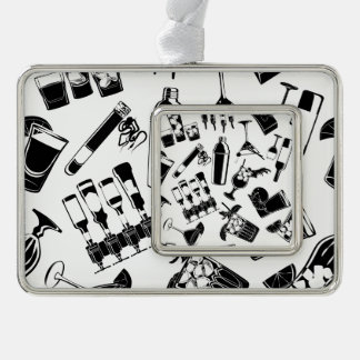 Black Pattern Cocktail Bar Silver Plated Framed Ornament