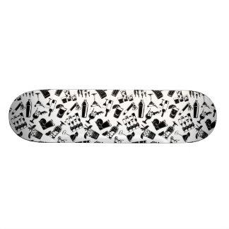 Black Pattern Cocktail Bar Skateboard
