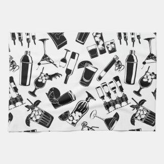 Black Pattern Cocktail Bar Towels