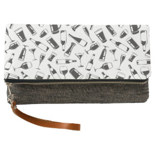 255e5d47ca Black Pattern Drinks and Glasses Clutch
