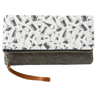 Black Pattern Drinks and Glasses Clutch