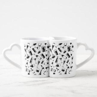 Black Pattern Drinks and Glasses Coffee Mug Set