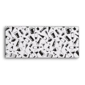 Black Pattern Drinks and Glasses Envelope