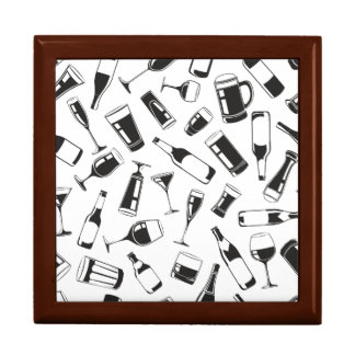Black Pattern Drinks and Glasses Jewelry Box