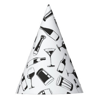 Black Pattern Drinks and Glasses Party Hat